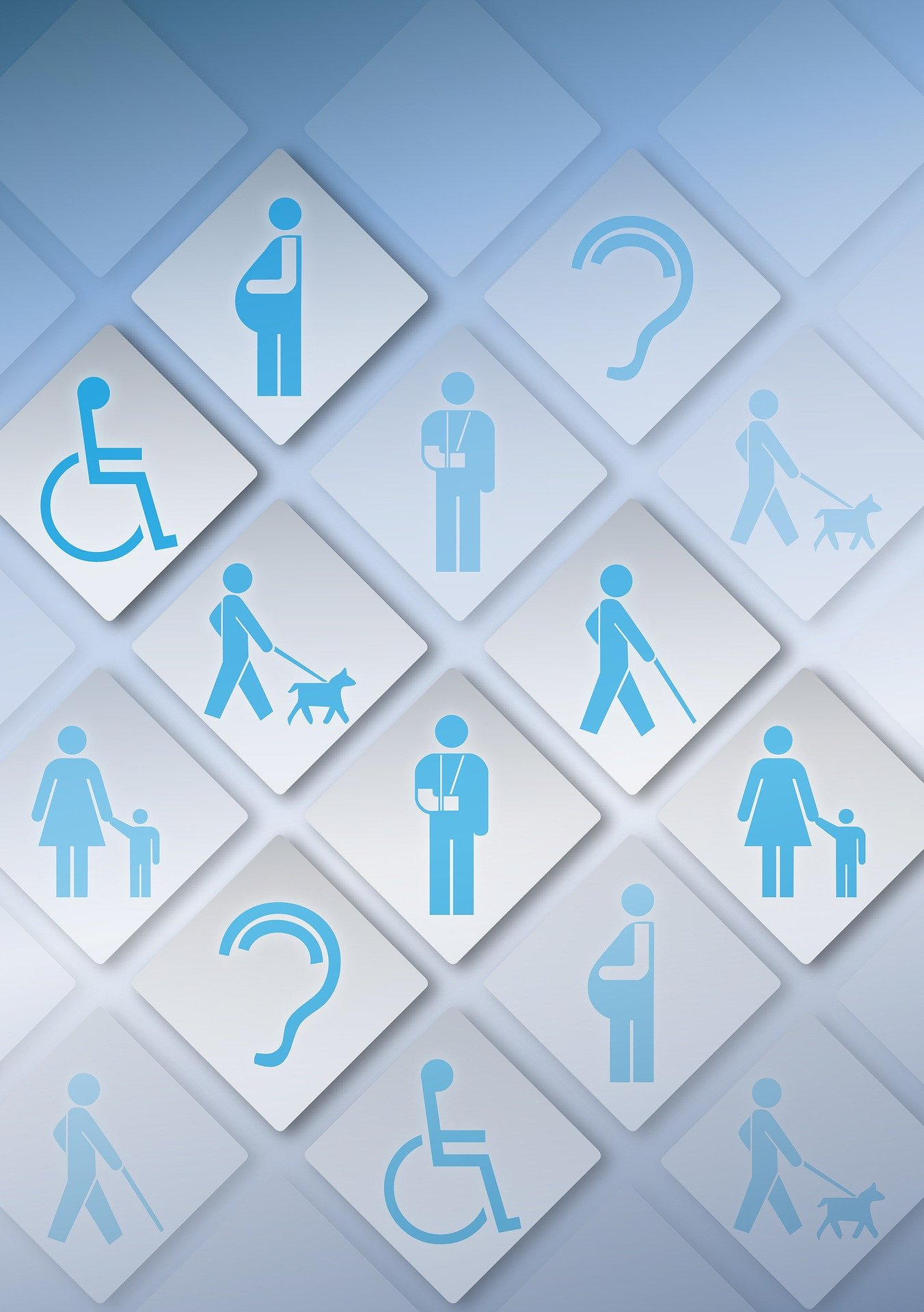 A visual diagram of all variations of signs for accessibility needs such as a wheelchair, pregnant woman, a blind person with a dog, an ear, and more.